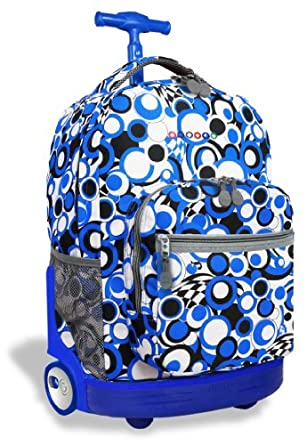 J World New York Sunrise Rolling Backpack, Chess Blue, One Size