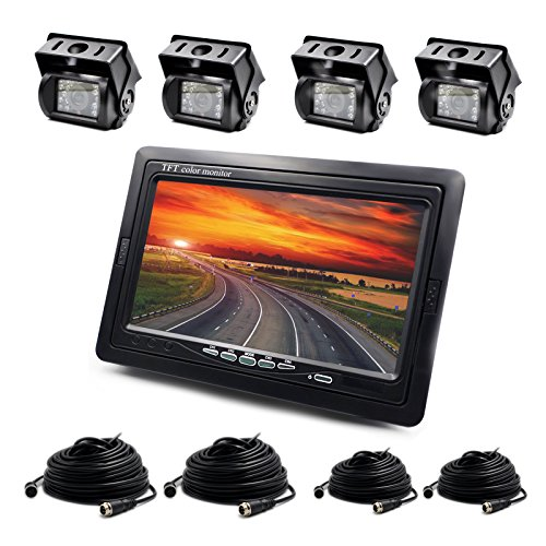"""ZEROXCLUB Wired 7"""" LCD Monitor Kits And 4xWaterproof Backup Camera For Truck/Van/Caravan/Trailers/Campers PAL And NTSC High Solution Rearview Camera"""