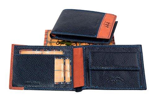 Portafoglio uomo HARVEY MILLER POLO CLUB in pelle blu con portamonete A3758