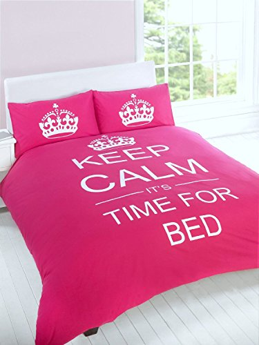 "Just Contempo - Copripiumino con motivo ""Keep Calm and It's Time for Bed"", set di biancheria da letto, Misto cotone, rosa, trapunta matrimoniale (da bambini)"