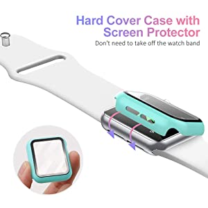 UMTELE Compatible for Apple Watch Series 1 2 3 38mm Case with Built-in Tempered Glass Screen Protector, Slim Guard Shock-Proof Bumper Full Coverage Hard Protective Cover Replacement with iWatch, Cyan (Color: Cyan, Tamaño: 38 mm)