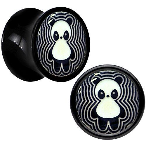 Black Acrylic Happy Panda Glow in the Dark Saddle Plug Pair 0 Gauge (Glow In The Dark 0 Gauge Plugs compare prices)