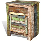 Table de chevet vintage Multicolore 1 tiroir 1 porte