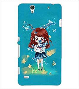 PrintDhaba Doll and Butterfly D-1146 Back Case Cover for SONY XPERIA C4 (Multi-Coloured)
