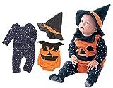Cuteshower ハロウィン ベビー ロンパース かぼちゃ パンプキン 着ぐるみ 3点セット 70cm(0-6ヶ月)