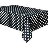 "Plastic Black Polka Table Cover, 54"" x 108"""