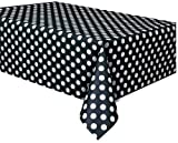 "Plastic Black Polka Table Cover, 54"" x 108"""
