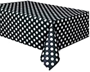 Plastic Black Polka Table Cover, 54