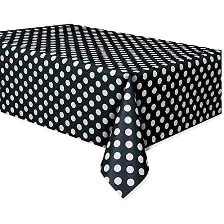Put the finishing touches on your polka dot party with the Black Dots Plastic Table Cover! Protect your table from spills and stains while remaining sleek and stylish. Coordinate with other Black Dots party supplies and Black Dots party decorations t...