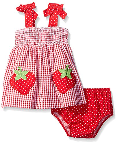 Rare Editions Little Girls Seersucker Dress with Strawberry Appliques Infant Sizes, Red/White, 12 Months