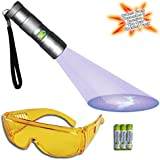 Doggone Pet Products® Black Light Ultra Violet Pet Urine Detector 12 LED Flashlight - Finds Dry Dog & Cat Stains on Carpets, Rugs, Curtains & Fabrics. Alkaline Batteries & High Contrast Yellow Tint Glasses Included