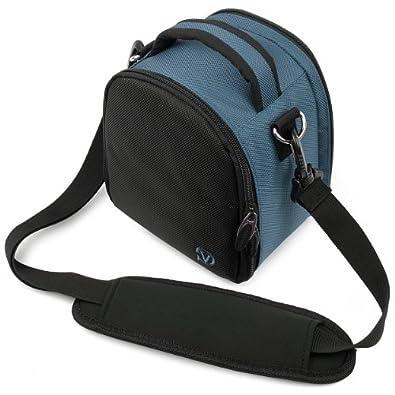 Laurel Compacts et Bridges Reflex Hybrides Etui Medium SLR Camera Bag pour appareil photo pour Sony NEX Nikon-1 J1 Pentax Canon EOS Panasonic Lumix DMC Olmypus Pen (bleu)