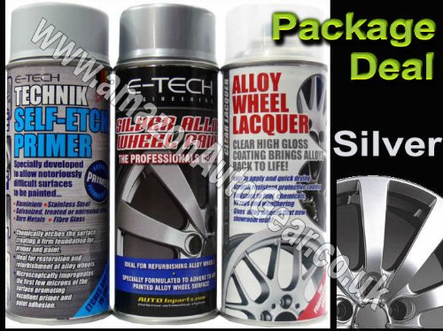 E-Tech Professional SILVER Car Alloy Wheel Spray Paint & High Gloss Clear Lacquer & Self Etch Primer Spray Can Refurbishment Pack