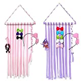 Joylish Hair Bow Holder Organizer for Girls, Hanging Storage for Baby Girl Hair Headbands Clips Accessories (Color: 1pc Pink & 1pc Purple Clip Holders, Tamaño: Large)