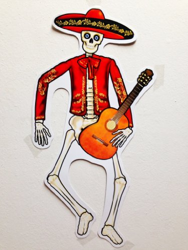 "Day Of The Dead Vicente El Mariachi 17"" Skeleton Cut-Outs - 6Ct Party Celebration"