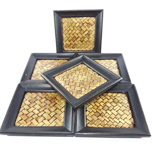Set of 6 Piecse Thai Carft Bamboo Square Woven Natural Wood Coaster Tropical Resort Style Glasses Cup Saucers (Chesterfield Soda compare prices)