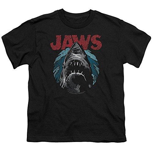 Jaws Spielberg Thriller Movie Cartoon Sketched Shark Attack Big Boys T-Shirt Tee