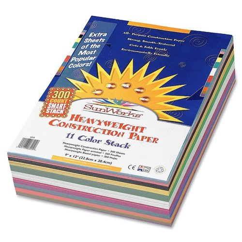 SunWorks Smart-Stack Construction Paper, 9 x 12 Inches, 11 Colors, 300 Count  (6525) - 1