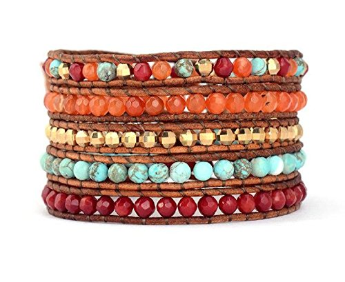 Leather Wrap Bracelet with Turquoise-Jasper Red and Orange Mixed Agate Beads