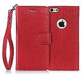 iPhone6s Plus ケース iPhone6Plus ケース,Fyy 100%手作り 高級PUレザーケース 横開き 手帳型ケース カードポケット スタンド機能 マグネット式 ストラップ付き スマホケース スマホカバー レッド