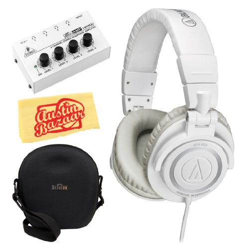 Audio-Technica M50 Professional Studio Monitor Headphones Bundle With Carrying Case, Headphone Amp, And Polishing Cloth - White