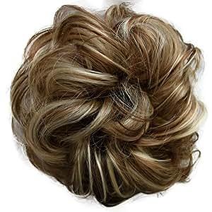PRETTYSHOP Scrunchy Scrunchie Bun Updo Hairpiece Hair Ribbon Ponytail Extensions Curly Diverse Colors (sandy blonde grey mix 12H88)
