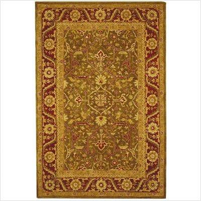 Safavieh AN523A Anatolia Collection 3-Feet by 5-Feet Handmade Hand-Spun Wool Area Rug, Green and Red