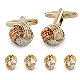 Tuxedo stud and Cufflink set Gold tone , Silver tone and copper tone Designer Inspired Loved Knot