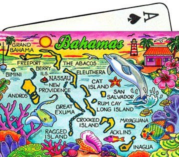 Bahamas Map Collectible Souvenir Playing Cards