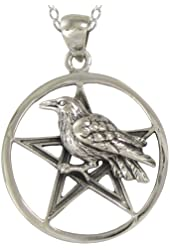 Sterling Silver Crow Pentagram Pentacle Necklace with sterling silver chain