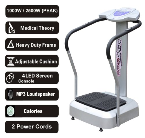 2011 Silver Crazy Fit Vibration Massage Plate 1000W 2500W Peak Power 99 Speed Range with MP3 Loudspeaker and Holder and 2 Free Power Cords 150kg Max User Weight