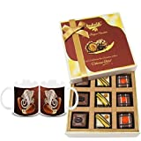 Chocholik Belgium Chocolates - 9pc Divine Assorted Treat To Your Friend With Diwali Special Coffee Mugs - Diwali...