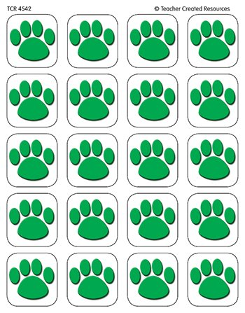 20 Pack TEACHER CREATED RESOURCES GREEN PAW PRINT STICKERS