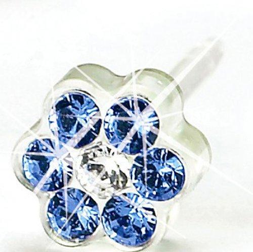 Blomdahl Medical Plastic Daisy, Sapphire/ Crystal