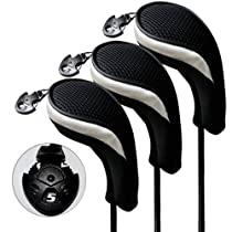3 Pack Andux Golf Hybrid Club Head Covers Interchangeable No. Tag Mt/hy06 Black & Silver