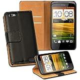 OneFlow PREMIUM - Book-Style Case im Portemonnaie Design mit Stand-Funktion - für HTC ONE V - SCHWARZ