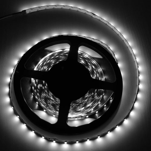 Generic SMD 3528 16.4 Feet LED Light Strip Cool White Lamp Ribbon Perfect for Xmas Tree / Car DIY/ Cabinet Under Display/ kitchen/ Bar, 5M 12V Input