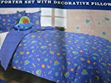 Mytex Aliens Reversible Comforter Set with Decorative Pillow Decals Twin Size