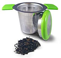 Premium Tea Infuser Brew-In-Mug Stainless Steel with Long Handles for Steeping Loose Leaf Tea, Lid Included (Green)