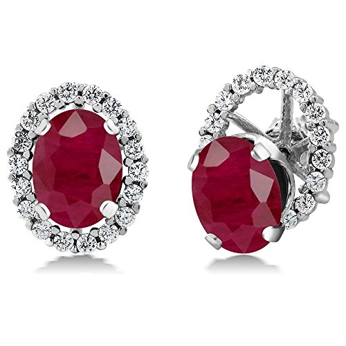 4.30 Ct Oval Genuine Red Ruby 925 Sterling Silver Women's Stud Earrings with Removable Jackets