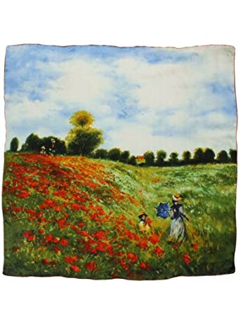 "Dahlia Women's 100% Square Silk Scarf Claude Monet ""Poppy Field in Argenteuil"""