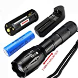 2014 NEW ARRIVAL UltraFire CREE XML T6 LED Flashlight 5 Mode Zoomable Torch + 18650 Charger + 18650 Battery