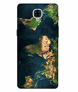 Case Cover Map Printed Multicolor Hard Back Cover For OnePlus 3