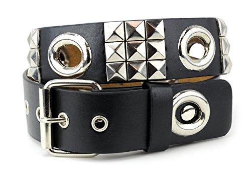 NYfashion101 Pyramid Studded Open Circle Design Single Hole Faux Leather Belt S