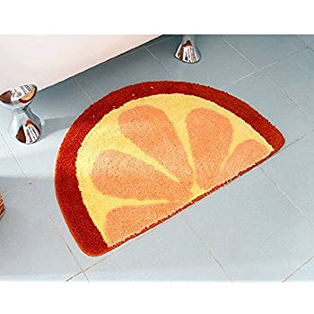 Lopkey Microfiber Non-Slip Water-absorbing Cute Fruits Watermelon Half Round Shaped Bathroom Doorway Kitchen Floor Rug Carpet Mat for Kids Roo