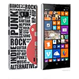 Nokia Lumia 930 Case - White Hard Plastic (PC) Cover with Red / Black Guitar Words Design