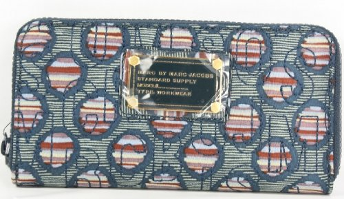 Marc Jacobs Pretty Large Zip Wallet Deeop Ocean Blue