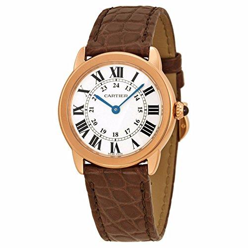 Ronde Solo De Cartier esfera plateada De piel De color marrón De las señoras reloj W6701007