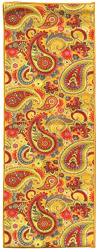 Sweet Home Yellow Paisley Design Kitchen Runner Rug (20