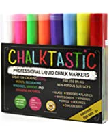 ChalktasticTM Liquid Chalk Markers 8 Pack - Premium Liquid Chalk Paint Pens with New Versatile Reversible Nib - 6mm Fine Tip Chisel Tip, Create Designs in Vibrant Bright Neon Colors Including White - Non Toxic and Odor Free - Dry Erase - Glass Markers - Order Today with Complete Confidence - Unbeatable 100% Satisfaction Guarantee!